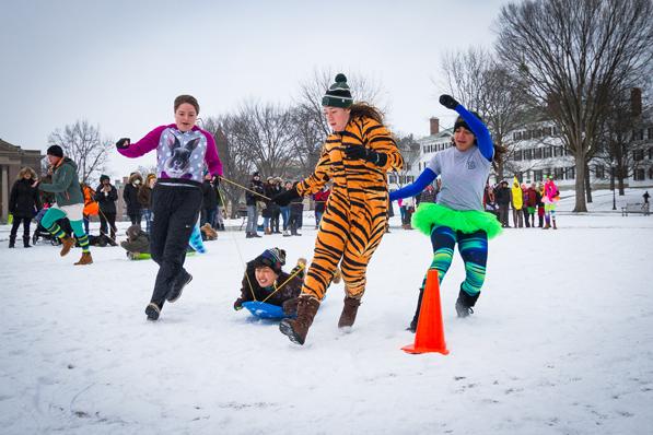 winter carnival 2016 - human dogsled race