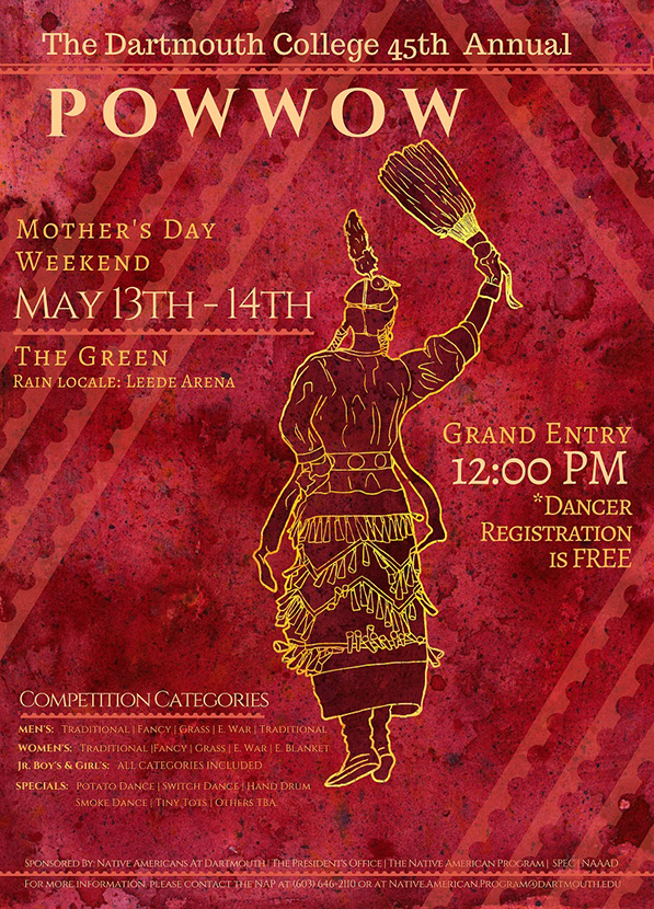 the poster for Dartmouth's 45th annual powwow