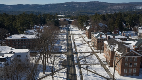 an aerial shot of campus in winter
