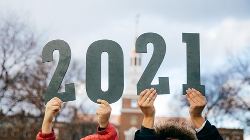 The number 2021 in front of Baker Tower