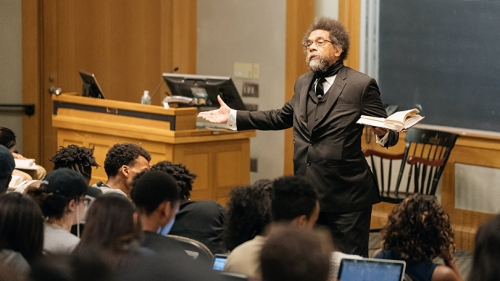 Cornel West lecturing in front of a class