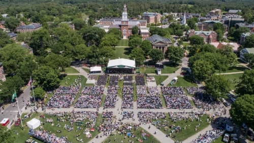 Aerial view of the Green during Commencement