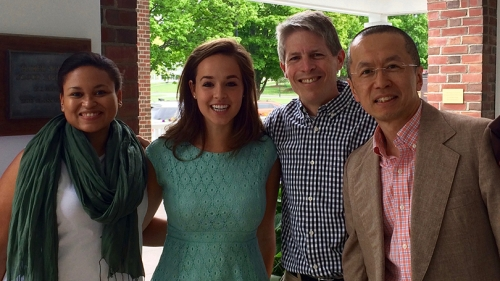 from left, Lauren Martin '16, Madeline Brown '16, and government professors John Carey and Yusaku Horiuchi.