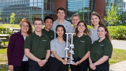 Dartmouth's winning team poses with their trophy after pitching their idea for a Mars greenhouse at NASA's Langley Research Center in Hampton, Va.