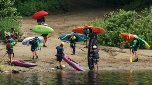 kayaking near river