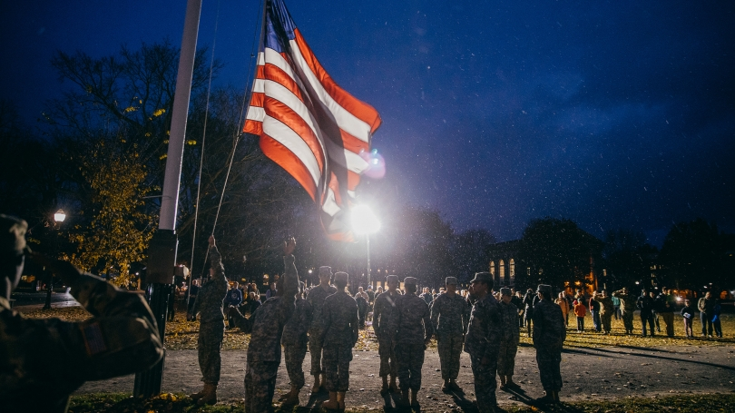 Veterans' retreat ceremony on the Green in 2016.