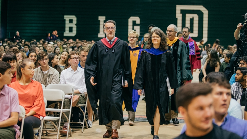 From left, Dean of Admissions Lee Coffin, Dean of the Faculty Elizabeth Smith, Dean of the College Kathryn Lively, and President Philip J. Hanlon '77, lead the procession at the beginning of the ceremony welcoming the Class of '23.