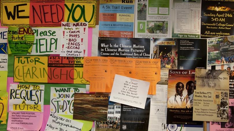 Bulletin board in Collis