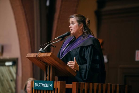 Allegra Love '03 speaks during the Baccalaureate